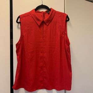 Red Sleeveless Blouse with Collar-Ann Taylor-XL